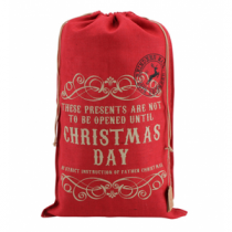 RED HESSIAN SACK 'CHRISTMAS DAY'