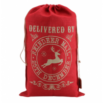 RED HESSIAN SACK 'REINDEER MAIL