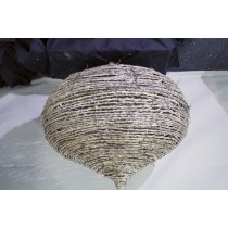 Wicker onion shaped hanging decorations set 3